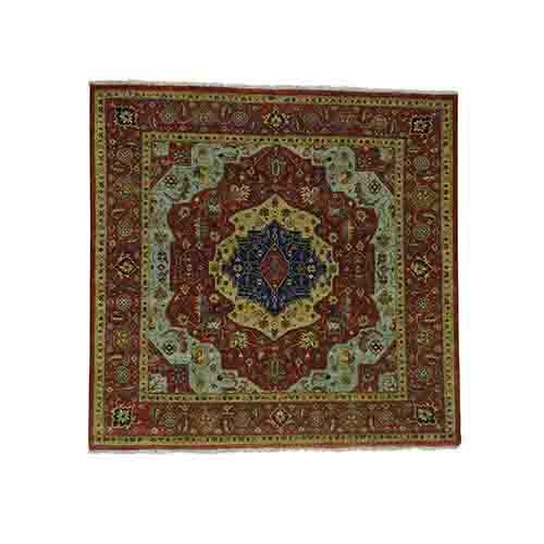 Pure Wool Antiqued Heriz Re-creation Hand-Knotted Square Rug