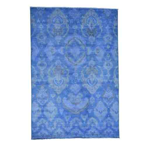 Hand Knotted Blue Cast Ikat Overdyed Pure Wool Oriental