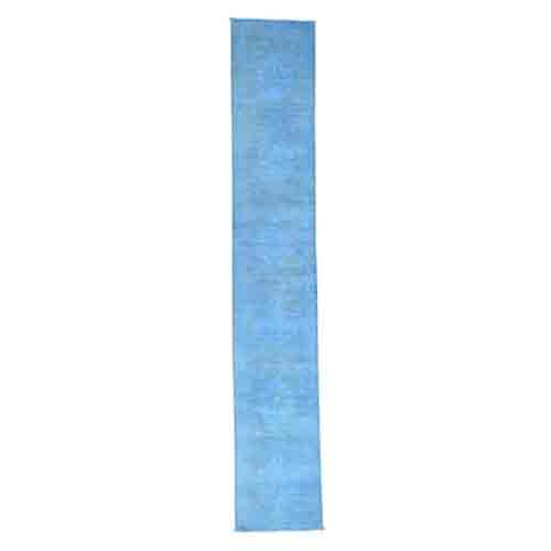 Hand Knotted Sky Blue Peshawar Overdyed Pure Wool Runner
