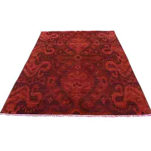 Hand Knotted Red Cast Ikat Overdyed Pure Wool Oriental