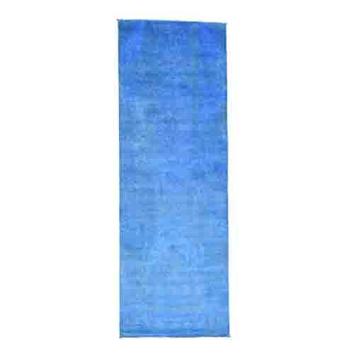 Hand Knotted Blue Cast Ikat Overdyed Pure Wool Wide Runner