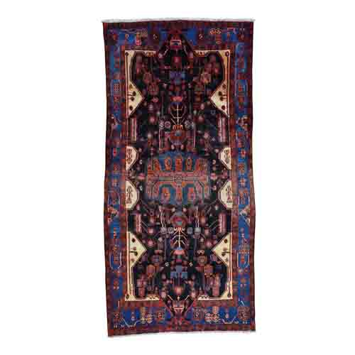 Hand Knotted Persian Nahavand Full Pile Wide Runner