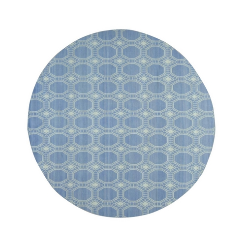 Hand-Woven Flat Weave Reversible Durie Kilim Round Oriental