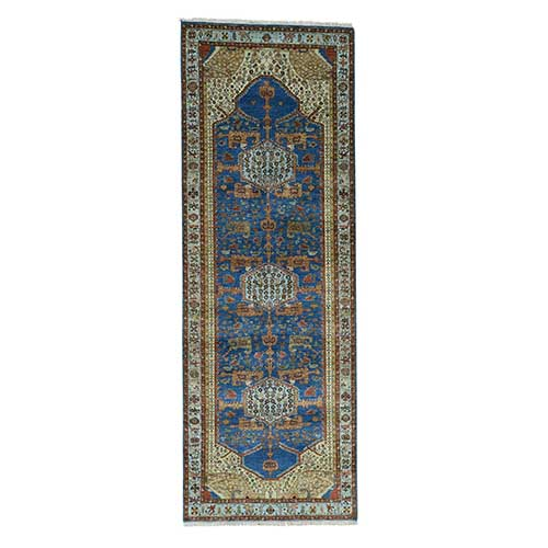 Hand-Knotted Antiqued Bakshaish Oriental Wide Runner