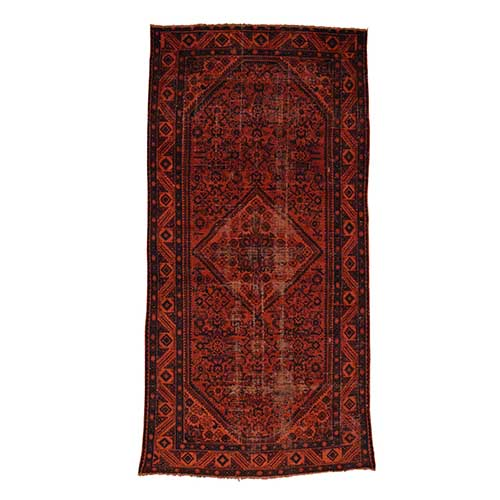 Handmade Overdyed Persian Hussainabad Vintage Wide Runner