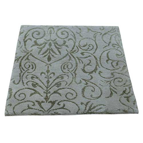Hand Knotted Wool and Silk Damask Design Square Oriental