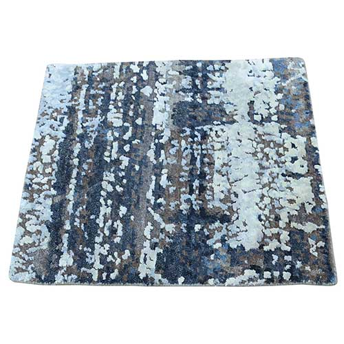 Hand-Knotted Wool and Silk Abstract Square Hi and Low Pile