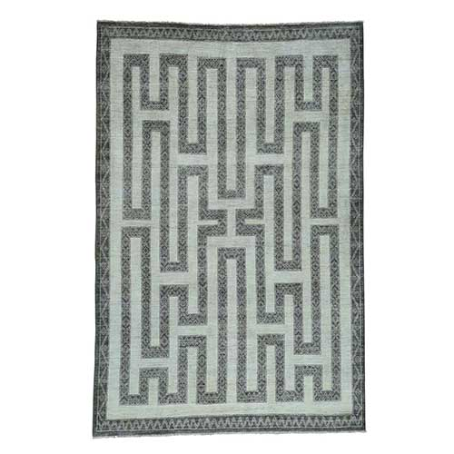 Hand-Knotted Pure Wool Maze Design with Berber Influence