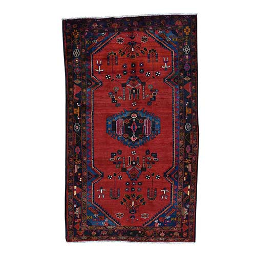 Persian Hamadan Semi Antique Hand Knotted Pure Wool Wide