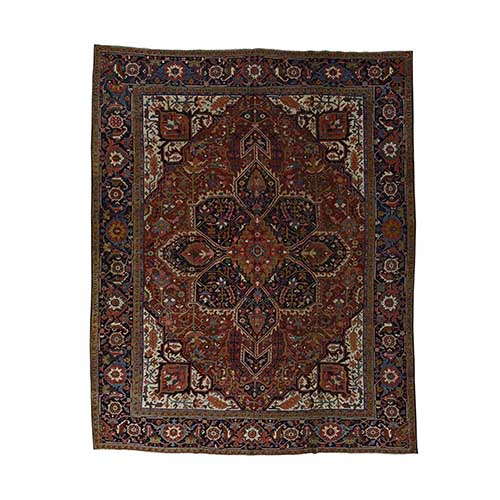 Hand-Knotted Antique Persian Heriz Exc Cond Pure Wool