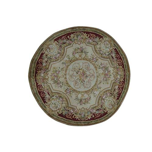 Round Louis Phillippe Design Savonnerie Thick And Plush