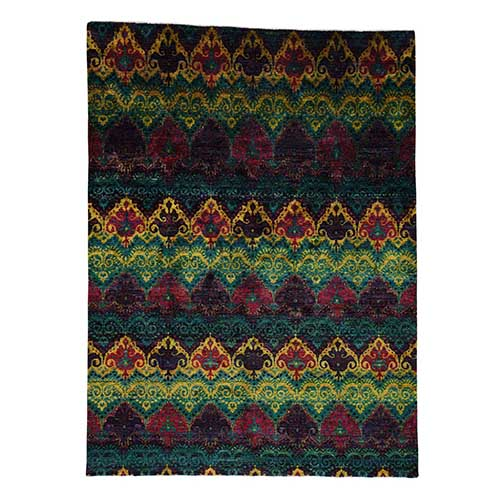 Sari Silk Ikat Design Hand-Knotted Bright Colors Oriental