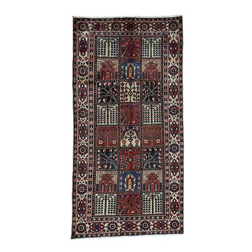 Bakhtiari Garden Design Hand-Knotted Pure Wool Wide Runner