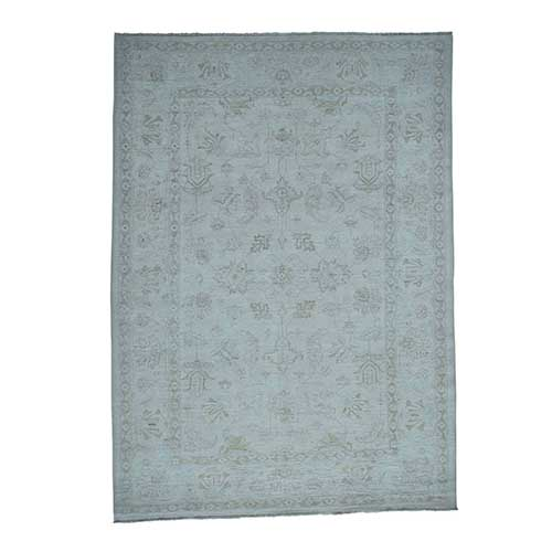 White Wash Peshawar Hand-Knotted Pure Wool Oriental