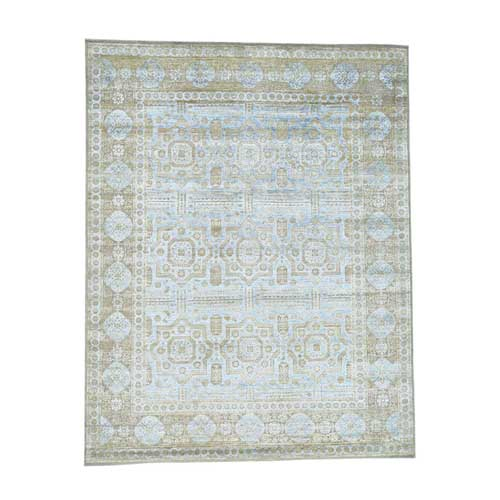 Hand-Knotted Silk with Oxidized Wool Mamluk Design