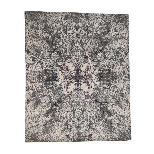 Hand-Knotted Modern Rug Wool and Silk Abstract