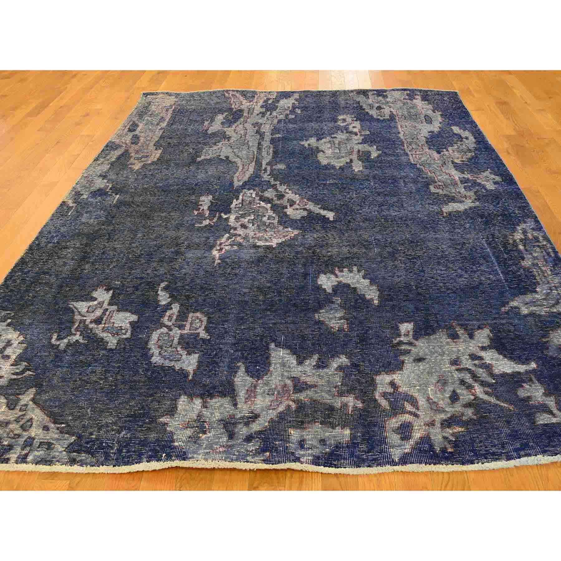 Hand-Knotted Grey Persian Overdyed Worn Oriental Rug