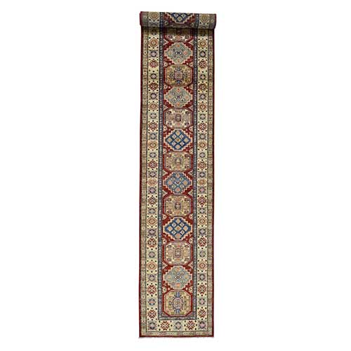 Hand-Knotted Pure Wool XL Red Super Kazak Runner