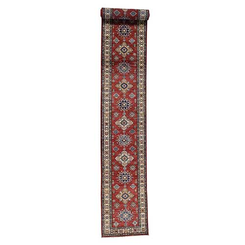 Hand-Knotted Pure Wool Red Super Kazak XL Runner
