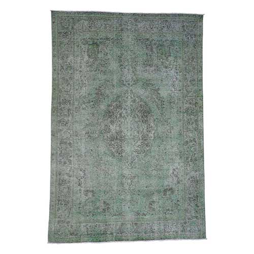 Green Overdyed Persian Tabriz Worn Hand-Knotted Oriental