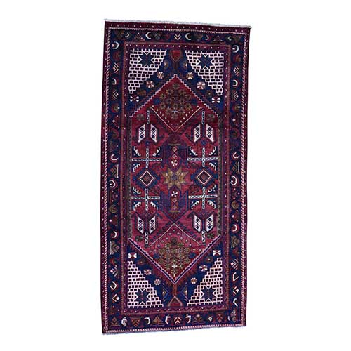 Semi Antique Persian Hamadan Hand-Made Gallery Size Runner
