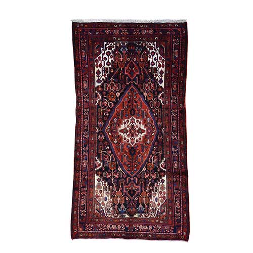 Hand-Knotted Semi Antique Persian Nahavand Wide Runner