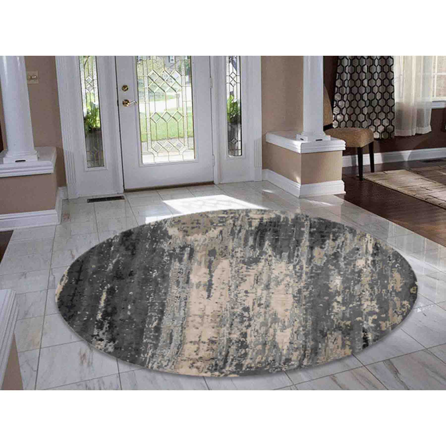 Oriental Rug Modern Living Room: Hand-Knotted Round Wool And Silk Abstract Design Oriental