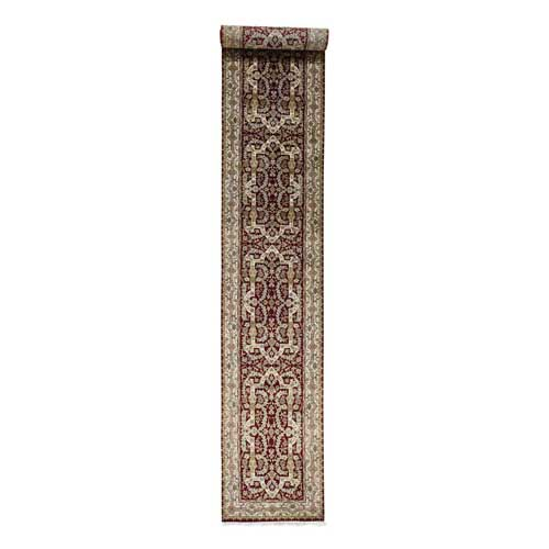 XL Runner Wool and Silk Tabriz Design 300 Kpsi Hand Knotted