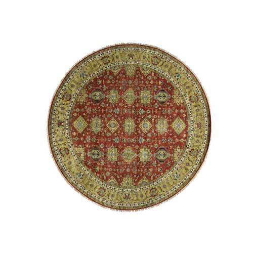Hand-Knotted Round Karajeh Pure Wool Oriental Rug