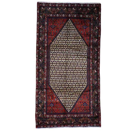 Hand-Knotted Persian Hamadan Camel Hair Wide Runner