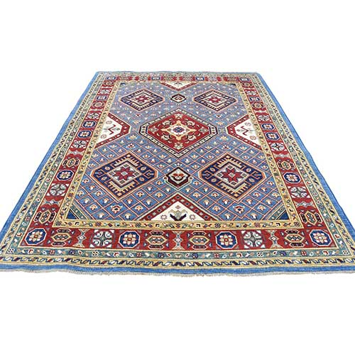 Sky Blue Special Kazak Pure Wool Hand-Knotted Oriental