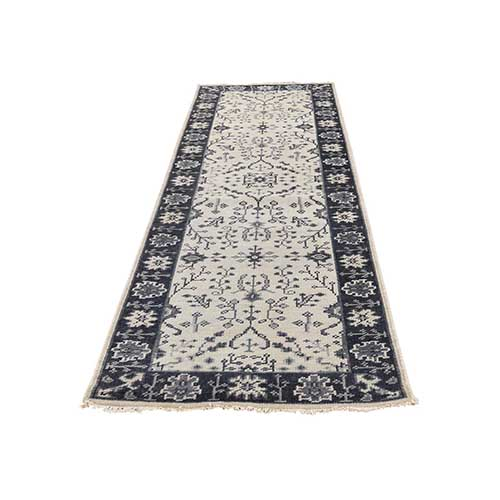 Turkish Knot Oushak Ivory Pure Wool Hand-Knotted Runner