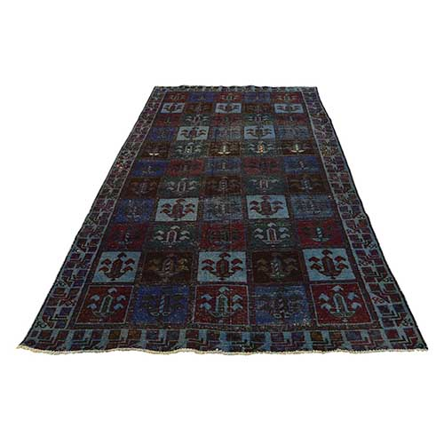 Hand Knotted Overdyed Persian Bakhtiari Worn Wide Runner