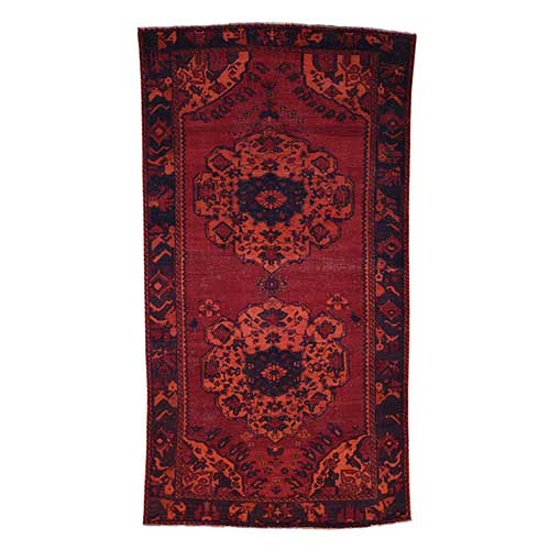 Overdyed Persian Bakhtiari Hand Knotted Worn Wide Runner