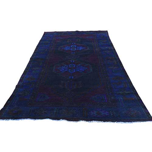 Hand-Knotted Vintage Overdyed Persian Wide Runner Bakhtiari Worn Oriental