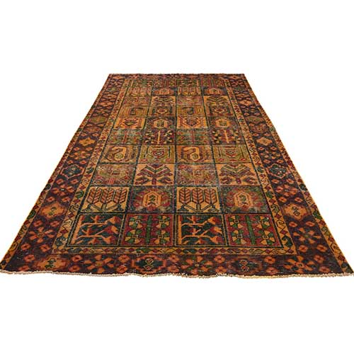 Hand Knotted Vintage Overdyed Persian Bakhtiari Wide Runner