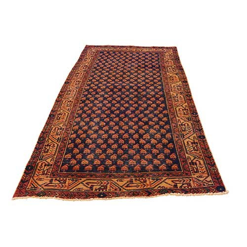 Hand-Knotted Vintage Overdyed Persian Sarouk Mir Wide Runner