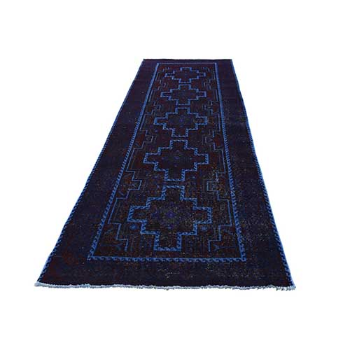 Hand Knotted Vintage Overdyed Persian Hamadan Runner