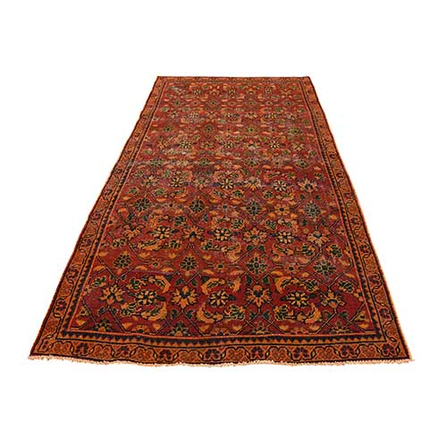 Vintage Overdyed Persian Sarouk Mir Hand-Knotted Wide Runner