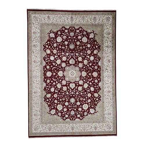 300 Kpsi Kashan Wool and Silk Hand Knotted Oriental