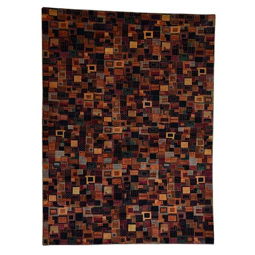 Hand Knotted Patchwork Design Lori Buft Silky Wool Oriental