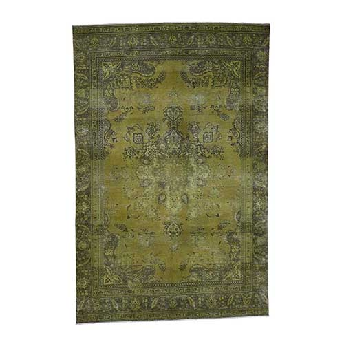 Light Green Vintage Overdyed Persian Tabriz Hand Knotted