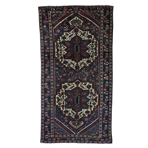 Vintage Persian Bakhtiari Even Wear Hand Knotted Wide Runner