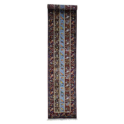 Pure Wool Shawl With Paisley Design Hand Knotted Runner