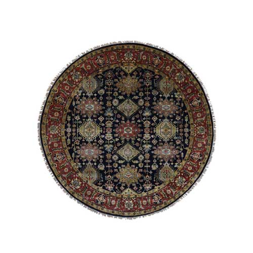 Hand-Knotted Pure Wool Black Karajeh Design Round