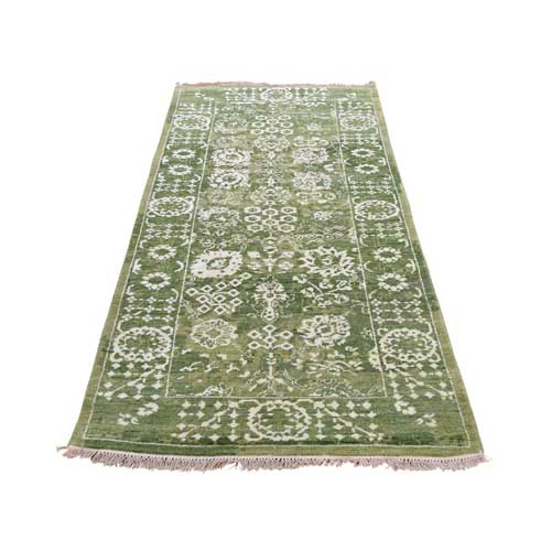Hand-Knotted Wool and Silk Tone on Tone Tabriz Runner Oriental