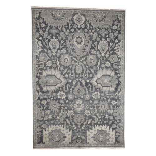 Silk With Oxidized Wool Oushak Influence Hand-Knotted Oriental