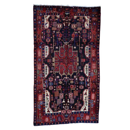 Hand-Knotted Semi Antique Persian Nahavand Wide Runner Oriental