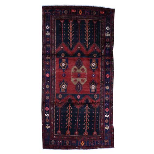 Hand-Knotted Semi Antique Persian Hamadan Wide Runner Oriental