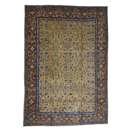 Antique Persian Tabriz Circa 1910 Hand-Knotted Oversize Oriental